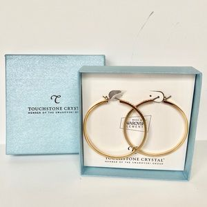 BN touchstone crystal gold hoops with crystal.